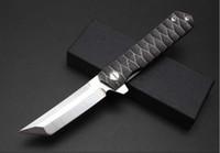Wholesale Folded Samurai Swords - TwoSun Folding Knife Samurai Sword D2 Blade Steel Handle Ball Bearing Tactical Knives Utility Outdoor Survival Hunting Knife EDC Tools