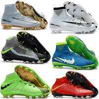 Wholesale Cheap Boots For Kids - Cheap Mens Women Kids Football Soccer Shoes Hypervenom Boots Mercurial Superfly V FG Youth Soccer Cleats For Boys Magista Obra Football shoe