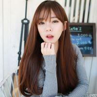 "Wholesale Korean Long Hair Styles - 2016 Brand New Women Trendy Fashion Thin Bangs Long Loose Wave Wigs Korean Style Girls Full Hairs With Cap 26"" Free Shipping"