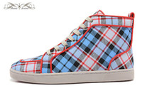 Taille 36-46 Hommes Plaid Femmes Bleu Canvas High Top Red Bottom New Fashion Sneakers, Unisexe Flats Luxury Brand, confortable UE Sole Souliers