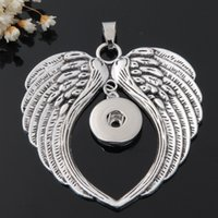 Wholesale Metal Charms Pendants Wings - Angel wings handmade Metal 18mm snap button giger snap jewelry for bracelet and necklace diy making charms pendant