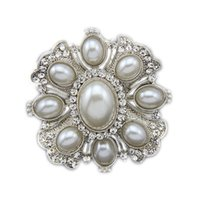 Wholesale Wholesale Vintage Look Flower Brooches - 2 Inch Vintage Look Rhodium Silver Plated Cream Oval Shaped Pearl Flower Brooch with Rhinestone Crystals