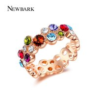 NEWBARK Bubble Style Rose Gold Color Sparkling Multicolor Áustria Crystal Bohemia Bezel Band Rings For Women Jóias Gift q170720