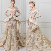 Wholesale Glamourous Lace - glamourous lace a line wedding dresses 2017 maison yeya bridal gowns three quarter sleeves illusion jewel off the shoulder peplum