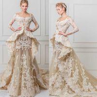 Wholesale Short Peplum Bridal Dresses - glamourous lace a line wedding dresses 2017 maison yeya bridal gowns three quarter sleeves illusion jewel off the shoulder peplum