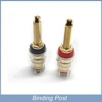 Wholesale gold plated binding posts - Free shipping 4pcs lot Long Thread Gold Plated Audio Speaker Binding Post