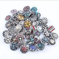 Wholesale Noosa Chunks Wholesale - NOOSA 18&20 mm Ginger Snap Jewelry Mix Styles Crystal Rhinestone Noosa Chunks Button Snaps for Bracelets High Quality Wholesales -J890