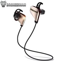 Wholesale Stereo Headphones Noise Cancellation - Noise Cancellation Bluetooth Headphones BRONZEMAN SPORT BZM8 Gold High End Wireless 4.1 Cancelling Earbuds Headset With Mic For Gym iPhone 7