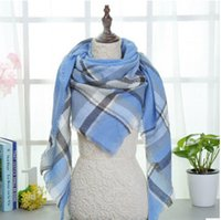 Wholesale Triangle Cashmere Scarves - Winter triangle Scarf 2018 Tartan Cashmere Scarf Women Plaid Blanket Scarf New Designer Acrylic Basic Shawls Women's Scarves and Wraps