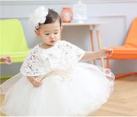 ingrosso abiti da battesimo di qualità-vendita al dettaglio 2 pz / set neonato di alta qualità 2016 bambino battesimo vestito da battesimo vestito da festa delle ragazze infantile abito da sposa principessa