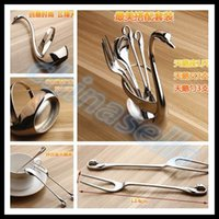 Wholesale Fruit Forks - flatware swan seat stainless steel fruit fork coffee spoon wedding gift cutlery Set Home tableware