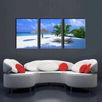 Wholesale Canvas Picture Beach - Coconut Tree on Sea Beach Seascape Painting Canvas Prints Wall Art Decor 3 Panel on Canvas Ready to Hang for Home Office Decoration