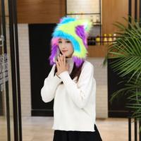 Wholesale Knit Mink Hat - Woman Hat Winter 2016 Faux Mink Fur Hat Cotton Beanie Caps Winter Ski Knitted Cap 3colors