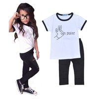 Wholesale Kids Fedex Suits - Fedex UPS free Girl OK Point pattern 2pcs suits 2016 Kids casual personality White short sleeve T-shirts+broken-hole pants outfit 90-130