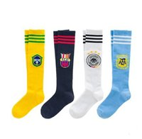 Wholesale Baby Socks Dhl - Boys girls stripe Long football socks 4 Color NEW free DHL Children cartoon cotton Stockings baby Sports socks 3-12years B001