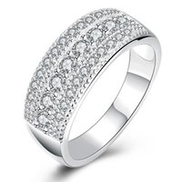 Wholesale Upscale Dresses - Sterling Silver Upscale Elegant Ring Dazzling Zirconia Geometric Ring for Women Dress Accessories Silver Plated Wide Finger Ring for Lady