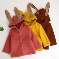 Wholesale Hoodies Ears Wholesale - New Fashion Children Coats rabbit's ears hooded Girls long Coat kids Winter Trench Coat Duffle Coat Kids Hoodies Children Outwear A1210