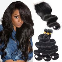 Brésilien Body Wave 3 Bundles Cheveux Vierges Avec Fermeture Unprocessed Double Drawn Weaves 7A Raw Virgin Hair Naturel Noir Wet Wavy Human Hair