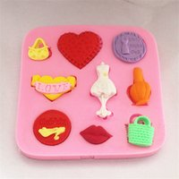 Wholesale Women Sexy Silicone Love - Silicone 3D Cake Mould Women Sexy Lips Bag Love Heart Dress Fondant Mold Bakeware chocolate sugarcraft moule decorating tools