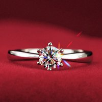 Wholesale 18k Gold Alliance - Wholesale-Never fading 1.2carat 6claws large simulated diamond Rings women 18K white gold plared Engagement alliance USA size