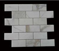 Wholesale Bathroom Marble Walls - Concise Subway Brick Italy Marble Mosaic Tiles Home decoration for feature wall, waterproof kitchen backsplash, bathroom surround 10pcs