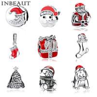 saf 925 gümüş takılar toptan satış-INBEAUT Yeni 925 Saf Gümüş Kadınlar için Noel Charms BileziklerBangles Noel Baba Charm Sevimli Köpek Boncuk Fit Pandora Bilezik