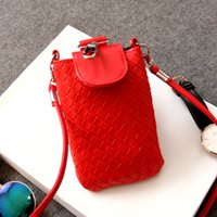 Wholesale Grey Knit Korean Style - Wholesale- New Japan and Korean style women solid color knit mini purse cover Handbags for mobile phones shoulder messenger Crossbody Bags