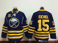 Barato Camisola Azul Do Hóquei Barato-Buffalo Sabres Jerseys # 15 Jack Eichel Navy Blue Home Jersey Atacado Cheap Authentic Stitched Hockey Jerseys Shirts