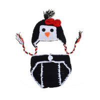 Wholesale Handmade Baby Pants - fashion Newborn baby photo props handmade Pants Knit and Penguin Cap for Photography Props baby studio props accessories