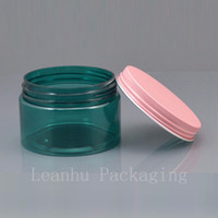 Wholesale Large Plastic Masks - 50pc lot 120g DIY Empty Plastic Frosted PET Jar,large 120g green Cream Container Mask jar with Gold   pink   white Metal Cap