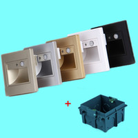 Wholesale Motion Sensor Wall Light Switch - 1.5W PIR motion Detector+ Light sensor led stair light led infrared human body induction lamp recessed steps ladder wall lamps + 86 box
