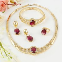 Wholesale Italian Gold Set - WesternRain 18K Gold Plated Italian Purple Jewelry Set For Christmas Gift Crystal Necklace Bracelet Ring Earrings A104