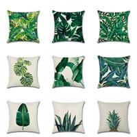 ingrosso super piante-Federa in lino cotone tropicale foresta pluviale pianta foglie verdi stampato copertina super soft cuscino divano letto federa 5kh f