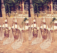 Wholesale white covered party chairs resale online - New Glamorous Maui Destination Wedding Chair Back Sashes Cover White Ivory Custom MADE Banquet Party Decor Christmas Birthday Chair Sashes