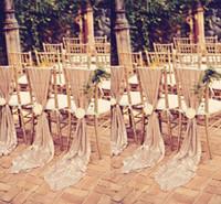 beyaz sandalye şapkaları toptan satış-Yeni Glamorous Maui Hedef Düğün Sandalye Geri Sashes Kapak Beyaz Fildişi Özel YAPıŞ Ziyafet Parti Dekoru Noel Doğum Günü Sandalye Sashes