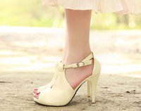 Wholesale High Heeled Black - Free shipping wedding shoes with braided strap high heel bridal shoes platform sandals white beige and black bridesmaid shoes party shoes
