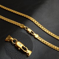 Wholesale Mens Fashion Accessories - 5mm fashion Luxury mens womens Jewelry 18k gold plated chain necklace for men women chains Necklaces gifts Wholesales accessories
