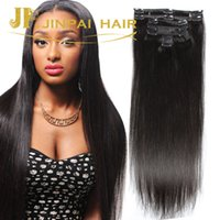 Wholesale Thick Straight Clip Extensions - Thick Full Head 100g 7pcs set Silky Straight Clip In Human Hair Extensions Cheap Remy Clip On Peruvian Hair extentions