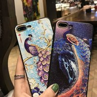 Wholesale Peacock Screen - New phone cases Phone7 peacock open screen tpu all-inclusive 3D embossed painted 7plus protective cover