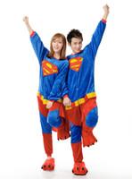 Wholesale Mens Cotton Pyjamas - Womens Mens Unisex Superman Jumpsuit Onesie Pyjamas Costumes Cosplay R003 S--XL