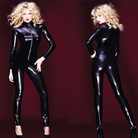 Wholesale Pvc Bodysuit Men - Wholesale-Newest Adult Women Sexy Patent Leather Leotard Tights Wet Look Front Zipper Jumpsuit PVC Vinyl Latex Bodysuit DJ Clubwear Dance