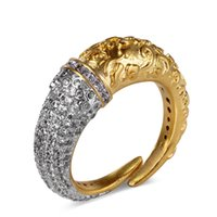 finger stein ring design großhandel-Einzigartiges Design Ring Kupfer Metall in Platin und Gold plattiert Fassung mit hochwertigen CZ Stones Fingerringen