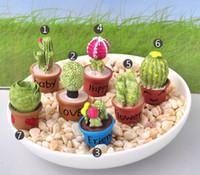 fleur zakka achat en gros de-7 pcs Kawaii Cactus Pot De Fleur Fée Jardin Terrarium Statue Miniatures Bonsaï Outils Résine Artisanat Gnome Zakka Dollhouse Maison Accessoires