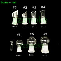 Wholesale Glass Bowl Sets - 14mm 18mm 10mm Glass dome and nail set for bongs domewax for bong dab oil rig Smoking Accessories heady rig bowl accessory water pipes