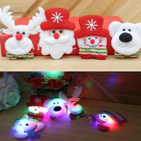 Wholesale Led Light Up Pins - LED Christmas Brooches Snow man Santa Claus Elk Bear Pins Badge Light Up Brooch Christmas Gift Party decoration Kids Toy