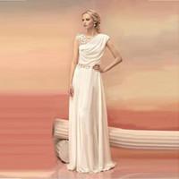 griechische spitze großhandel-Lange Abendkleider Braut Prinzessin Bankett Spitze Chiffon Abendkleid Griechische Göttin Elegant Backless Plus Size Formal Dress