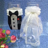 Wholesale champagne glasses flutes - Free Shipping! 2PCS Hot Bride & Groom Champagne Glass Cover Decoration Bride's Veil & Groom's Tuexdo Wedding Party Glass Flute Cover