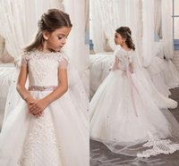 Wholesale Communion Cape - White Princess Tulle Cape Wedding Flower Girl Dresses With Beaded Ribbon Sash Floor Length Short Sleeve Girls Pageant Gowns Party Dresses