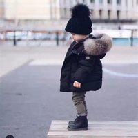 Wholesale Big Boy Hats - 2017 Winter Thicken Warm Children Down Cotton Coats Parkas Fashion Big Fur Hats Hooed Jackets Brand Boys Girls Clothing Warm