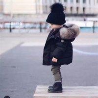 Wholesale 5t Girls Fur Coats - 2017 Winter Thicken Warm Children Down Cotton Coats Parkas Fashion Big Fur Hats Hooed Jackets Brand Boys Girls Clothing Warm